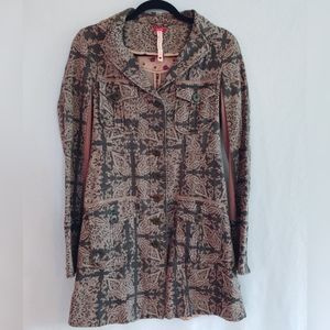 Free People Brown Tan Paisley Tapestry Coat Size 2